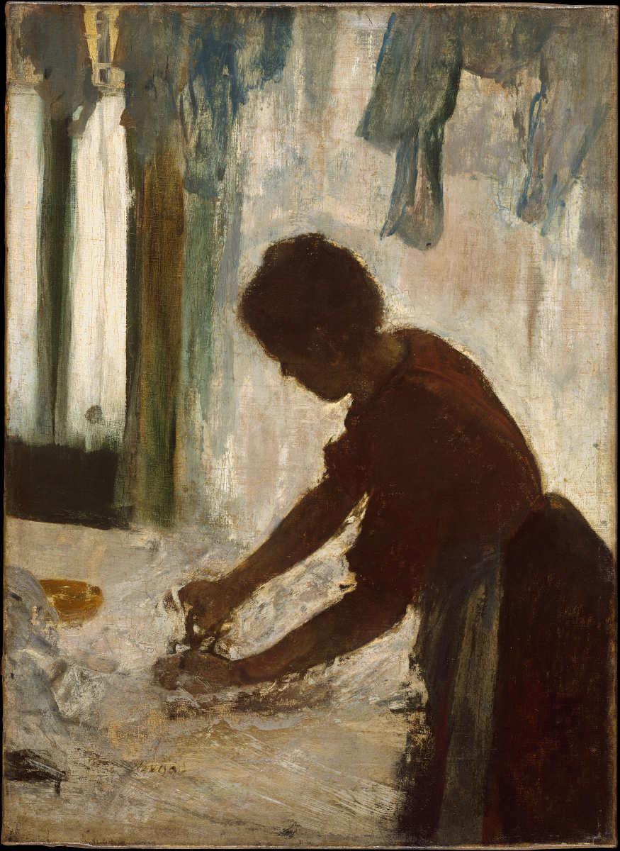 Edgar Degas, Blanchisseuse (Silhouette) [Bügelnde Frau (Silhouette)], um 1874 (vielleicht: Öl auf Leinwand, 54.3 x 39.4 cm, The Metropolitan Museum of Art, New York, H. O. Havemeyer Collection, Bequest of Mrs. H. O. Havemeyer, 1929)