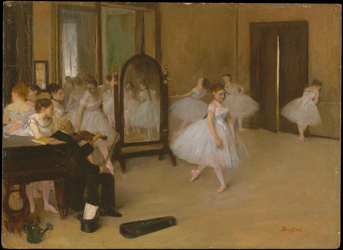 Edgar Degas, Classe de danse [Tanzklasse], um 1870, Öl auf Leinwand, 19.7 x 27 cm (Metropolitan Museum, New York, H. O. Havemeyer Collection, Bequest of Mrs. H. O. Havemeyer, 1929)