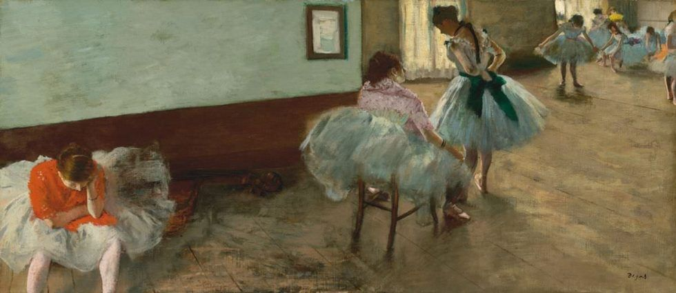 Edgar Degas, Die Tanzstunde, um 1879, Öl auf Leinwand, 38 x 88 cm (National Gallery of Art, Washington, Collection of Mr. and Mrs. Paul Mellon)