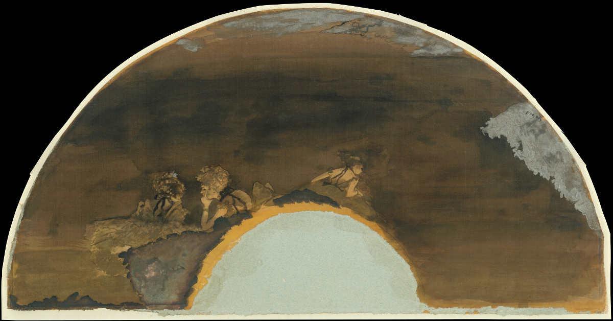Edgar Degas, Eventail [Fächer (Ballettmädchen)], 1879, Aquarell, Tusche und Gold auf Seide, 19.1 x 57.8 cm (The Metropolitan Museum of Art, New York, H. O. Havemeyer Collection, Bequest of Mrs. H. O. Havemeyer, 1929)