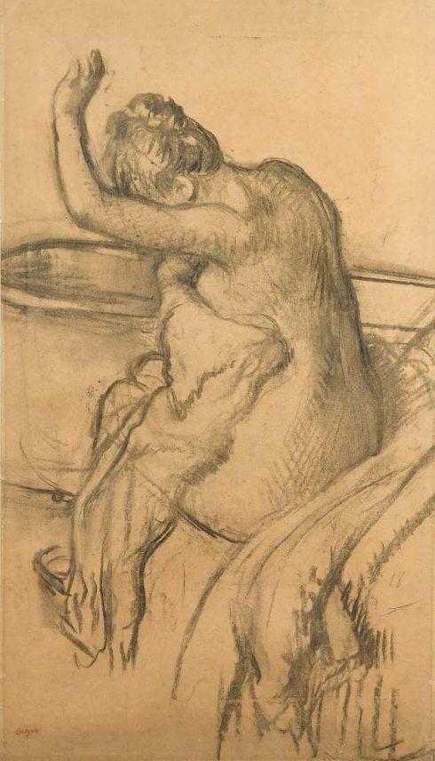 Edgar Degas, Nach dem Bade, um 1895, Kohle auf dünnem, vergilbtem Papier auf Karton, 65,8 x 37 cm (Von der Heydt-Museum Wuppertal)