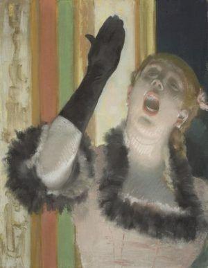 Edgar Degas, Chantreuse de café [Sängerin mit Handschuh], um 1879, Pastell auf Leinwand (Harvard Art Museums/Fogg Museum, Bequest from the Collection of Maurice Wertheim, Class of 1906)
