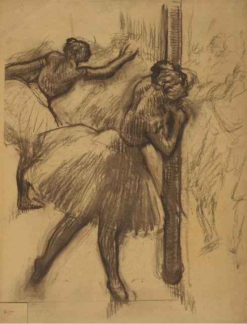 Edgar Degas, Tänzerin an einen Pfeiler lehnend, 1895–1898, Kohle, 69 x 53 cm (Museum Folkwang, Essen)