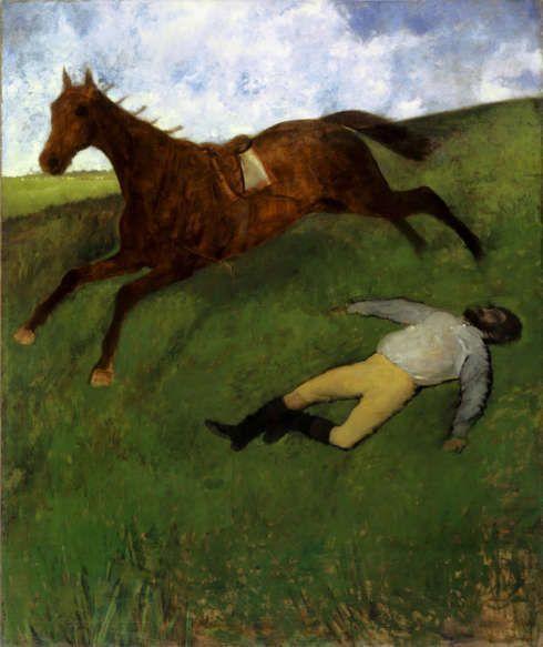 Edgar Degas, Verletzter Jockey, um 1896/1898, Öl auf Leinwand, 180,6 x 150,9 cm (Kunstmuseum Basel)