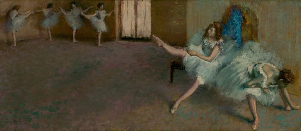 Edgar Degas, Vor dem Ballett, 1890/1892, Öl auf Leinwand, 40 x 88,9 cm (National Gallery of Art, Widener Collection)