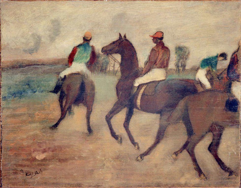 Edgar Degas, Vor dem Rennen, um 1888, Öl auf Holz (parkettiert), 33,5 x 42,5 cm (Kunstmuseum Bern, Legat Georges F. Keller 1981 Kunstmuseum Bern)