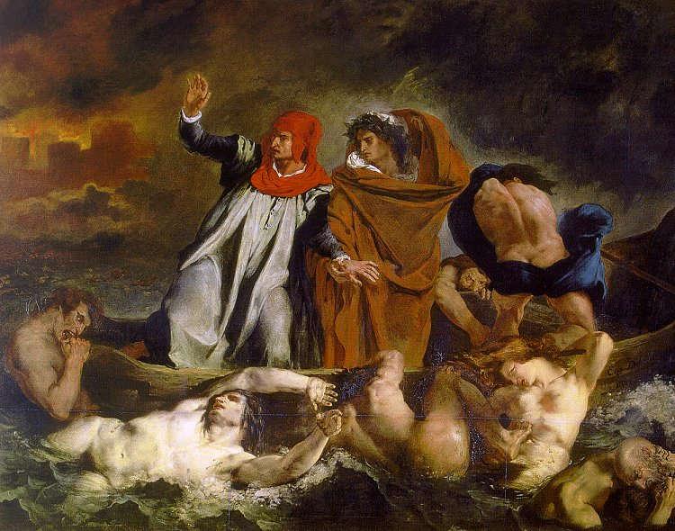 Eugène Delacroix, Die Dante-Barke, 1822, Öl/Lw, 189 x 246 cm (Musée du Louvre, département des Peintures, Franck Raux)