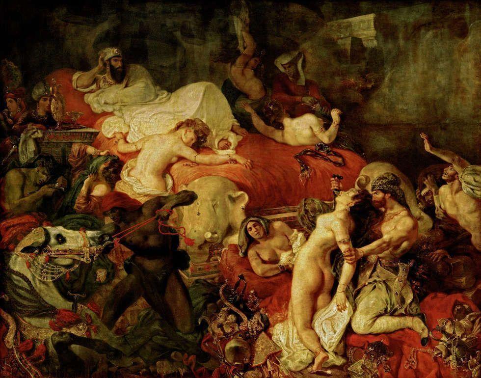 Eugène Delacroix, La Mort de Sardanapale [Der Tod des Sardanapal], 1827/28, Öl/Lw, 395 × 495 cm (Musée du Louvre, département des Peintures)