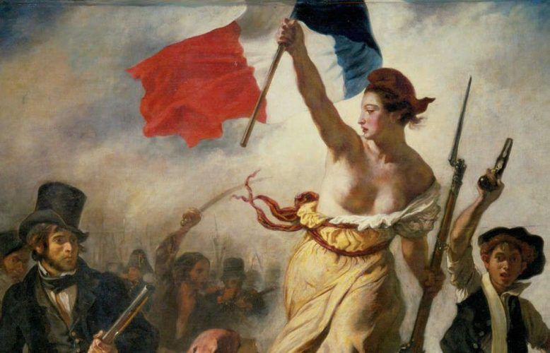 Eugène Delacroix, Die Freiheit führt das Volk, 28 Juli 1830, Freiheit (Musée du Louvre, département des Peintures © Musée du Louvre, dist. RMN / Angèle Dequier)