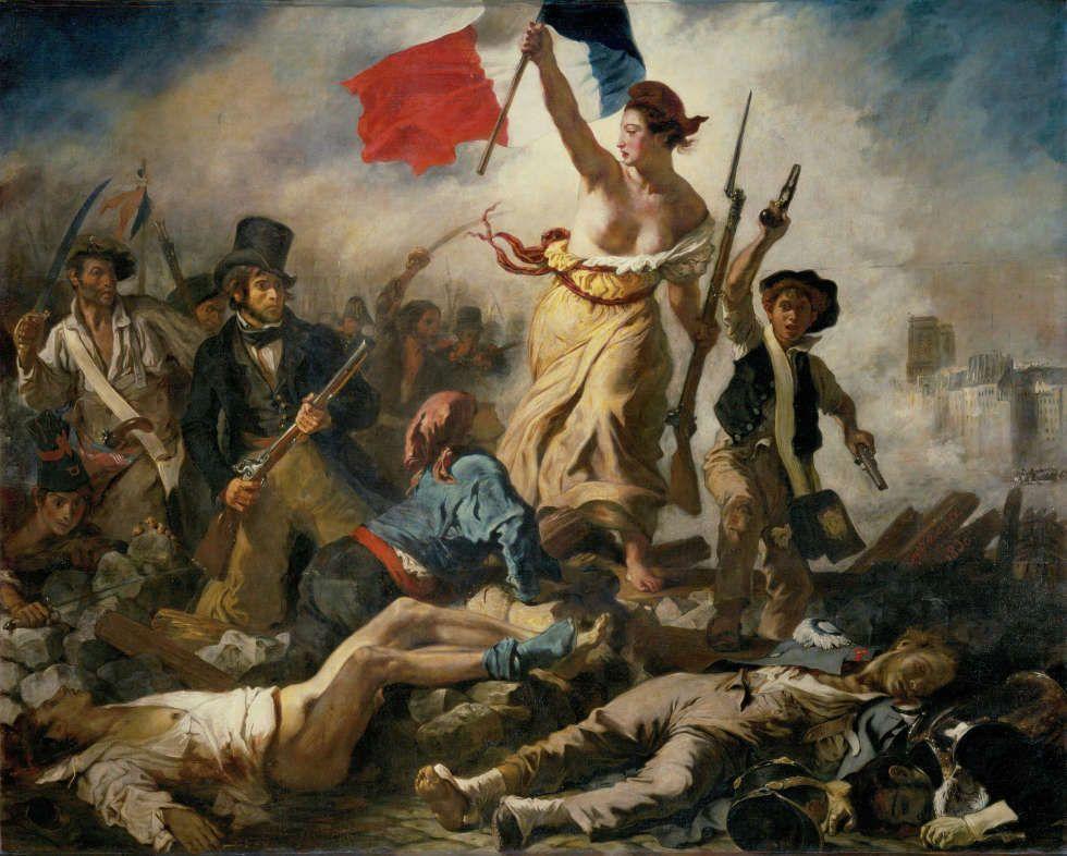 Eugène Delacroix, La Liberté guidant le peuple [Die Freiheit führt das Volk], 28 Juli 1830 (Musée du Louvre, département des Peintures © Musée du Louvre, dist. RMN / Angèle Dequier)