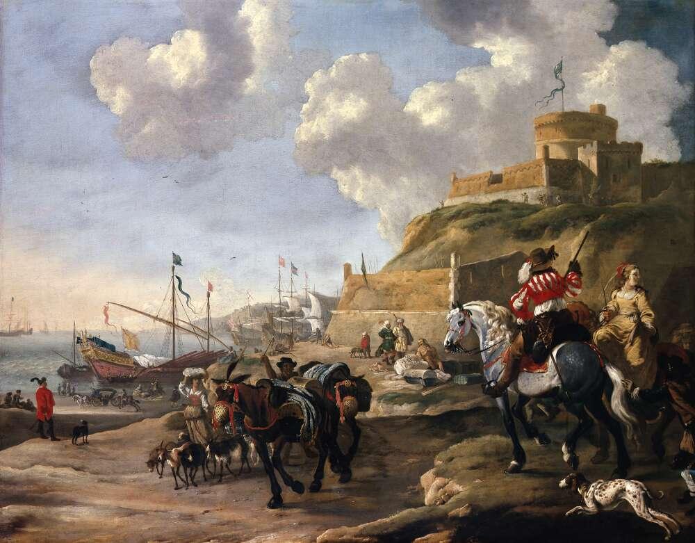Dirck Stoop, Mittelmeerhafen, 1660er Jahre, Öl auf Leinwand (WRM 1508)