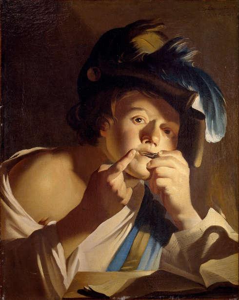 Dierck van Baburen, Junge mit Maultrommel, 1621, Öl/Lw, 70,7 x 84 cm (Centraal Museum Utrecht)
