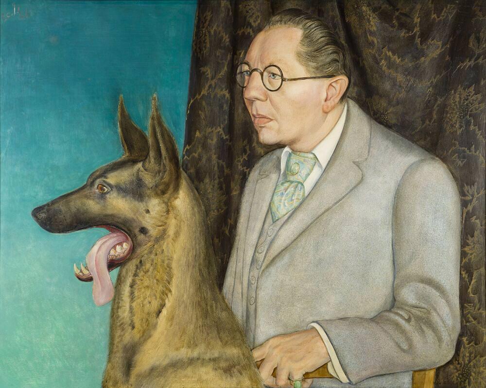 Otto Dix, Bildnis des Fotografen Hugo Erfurth mit Hund (Detail), 1926, Tempera und Öl auf Holzplatte, 80 x 100 cm (Museo Thyssen-Bornemisza, Madrid), © VG Bild-Kunst, Bonn 2016