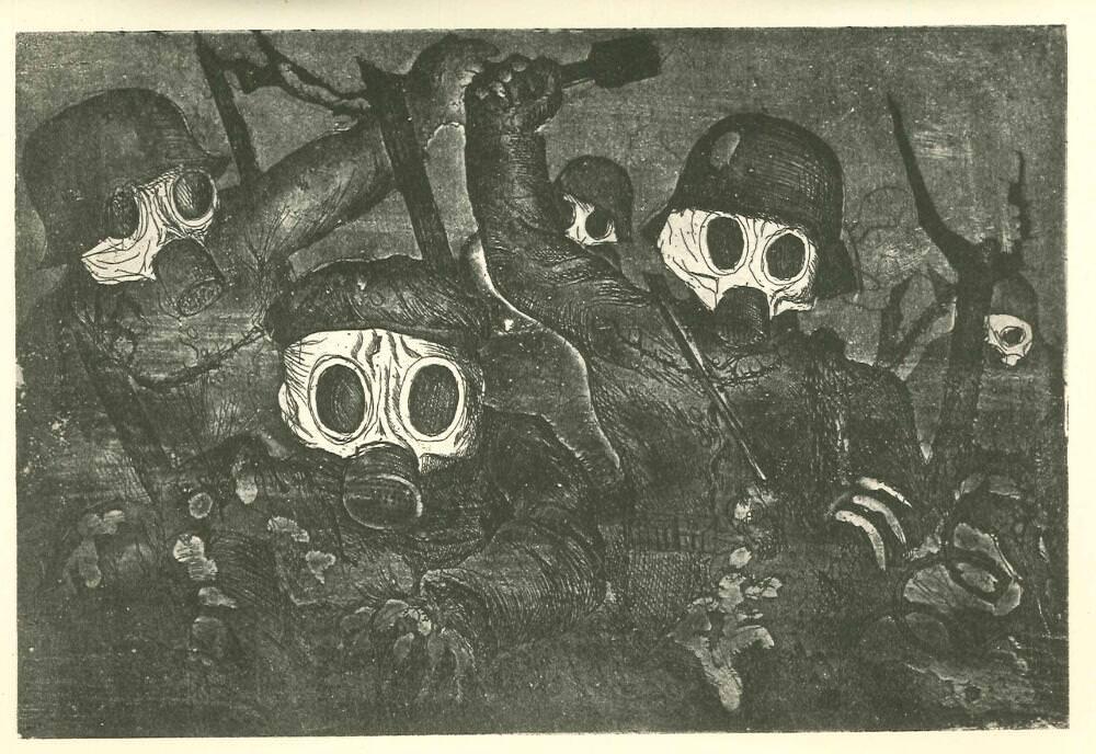 """Otto Dix, Sturmtruppe geht unter Gas vor (Detail), 1924, aus: """"Der Krieg"""" (50 Radierungen in fünf Mappen), 2. Mappe, II, 19,6 x 29,1 cm (Otto Dix Archiv, Bevaix), © VG Bild-Kunst, Bonn 2016"""