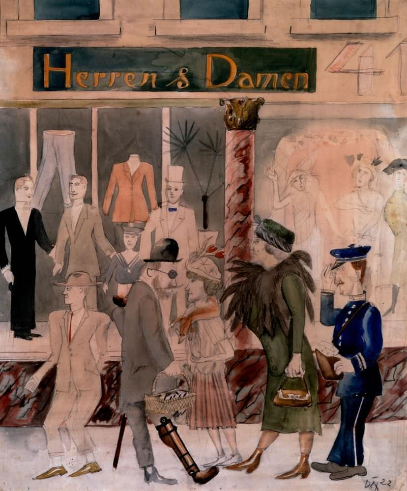 Otto Dix, Herren und Damen, 1922, Aquarell und Bleistift, 56,6 x 47,0 cm (Private Collection, Courtesy Richard Nagy Ltd., London), © VG Bild-Kunst, Bonn 2016
