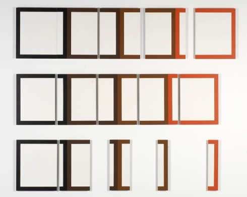Dóra Maurer, 5 aus 4,1978, Acryl auf Spanplatten, 180 x 208,5 x 2,8 cm (Sammlung Dieter und Gertraud Bogner im mumok, seit 2007 © Dóra Maurer)