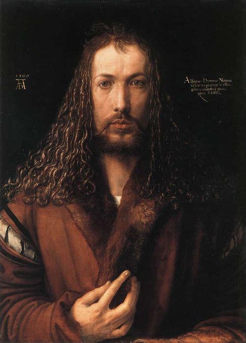 Albrecht Dürer, Selbstbildnis im Pelzrock, 1500, Öl auf Holz, 67 × 49 cm (Alte Pinakothek, München)