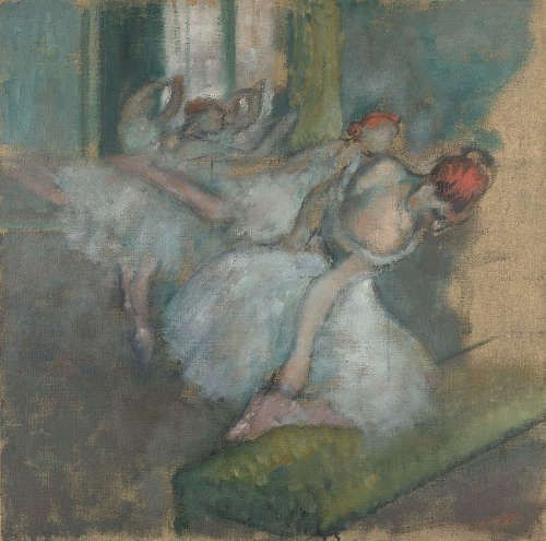 Edgar Degas, Balletttänzerinnen, um 1890–1900, Öl auf Leinwand, 72.5 x 73 cm (© The National Gallery, London)