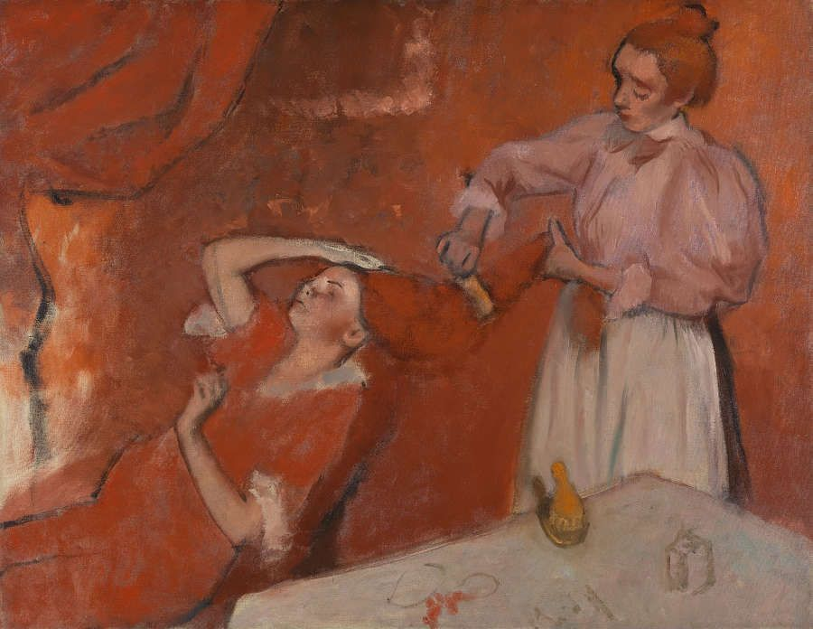 Edgar Degas, Das Haar kämmen, um 1896, Öl auf Leinwand, 114.3 x 146.7 cm (© The National Gallery, London)