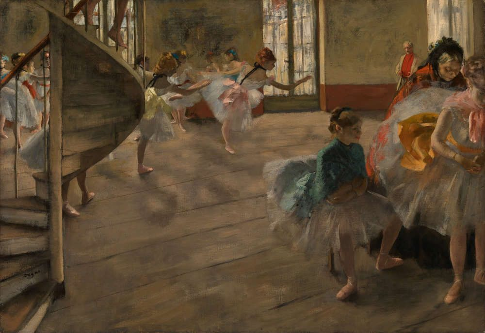 Edgar Degas, Die Probe, um 1874, Öl auf Leinwand, 58.4 × 83.8 cm (The Burrell Collection, Glasgow (35.246) © CSG CIC Glasgow Museums Collection)