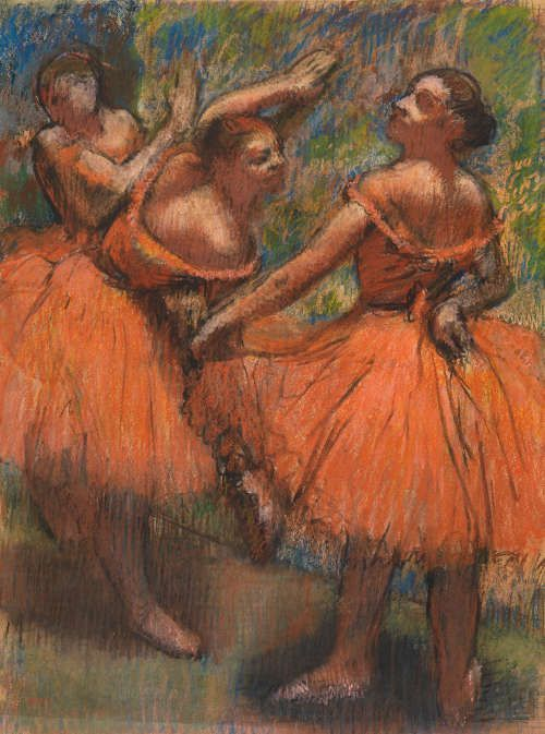 Edgar Degas, Die roten Ballettröcke, um 1900, Pastell auf Papier, 76.8 × 57.8 cm (The Burrell Collection, Glasgow (35.243) © CSG CIC Glasgow Museums Collection)