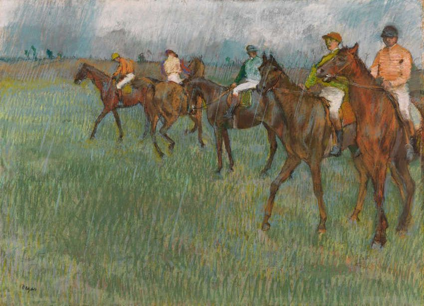 Edgar Degas, Jockeys im Regen, um 1883–1886, Pastell auf Papier, 46.9 x 63.5 cm (The Burrell Collection, Glasgow (35.241) © CSG CIC Glasgow Museums Collection)