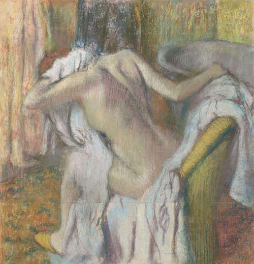 Edgar Degas, Nach dem Bad, Frau trocknet sich selbst ab, um 1890–1895, Pastell auf Papier, 103.5 x 98.5 cm (© The National Gallery, London)