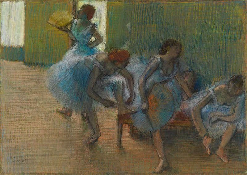 Edgar Degas, Tänzerinnen auf einer Bank, um 1898, Pastell auf Papier, 54.8 × 76 cm (Glasgow Museums: Art Gallery & Museums, Kelvingrove (2441) © CSG CIC Glasgow Museums Collection)