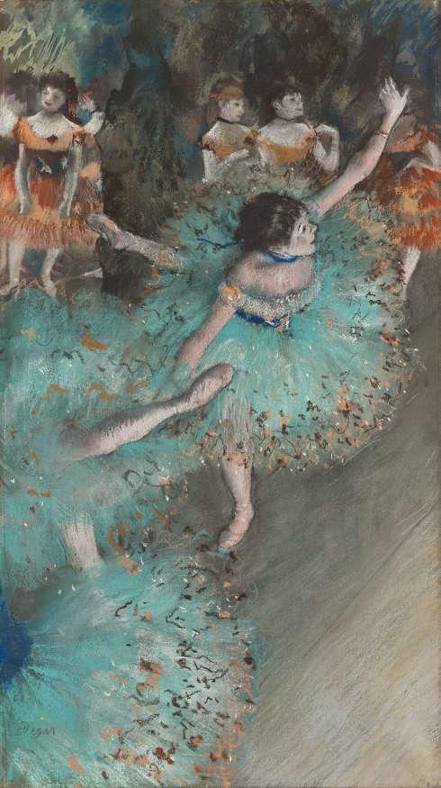 Edgar Degas, Tänzerinnen in Grün, 1877–1879, Pastell und Gouache auf Papier, 64 x 36 cm (Museo Nacional Thyssen-Bornemisza, Madrid)