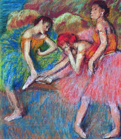 Edgar Degas, Danseuses (Danseuses au repos) [Tänzerinnen], um 1898, Pastell auf fünf Blatt Papier, 83 x 72 cm (Lausanne, Fondation de l'Hermitage, legs de Lucie Schmidheiny, 1998, Foto Giorgio Skory, Romanel-sur-Lausanne)