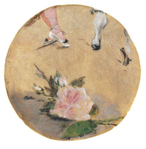 Édouard Manet, Chaussons de danse, 1879, Öl/Pergament auf Papier, Dm 21.3 cm (Privatsammlung)