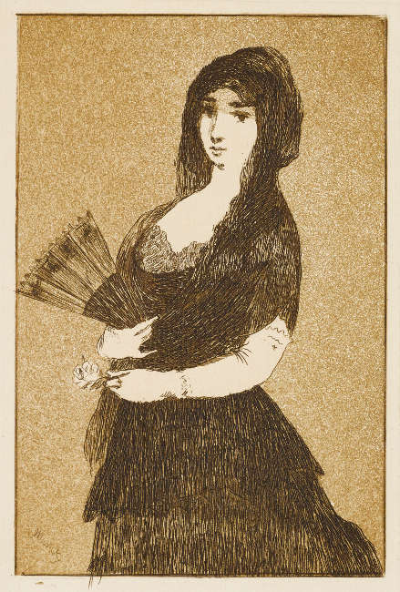 Edouard Manet, Dame mit exotischer Blume Radierung und Aquatinta (Kunsthalle Bremen – Der Kunstverein in Bremen, Kupferstichkabinett)