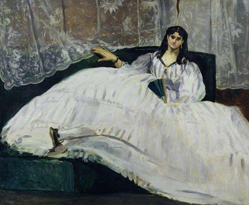 Édouard Manet, Jeanne Duval, Baudelaires Maitresse, zurückgelehnt (mit einem Fächer), 1862, Öl auf Leinwand, 113 x 90 cm (Museum of Fine Arts, Budapest, Ungarn)