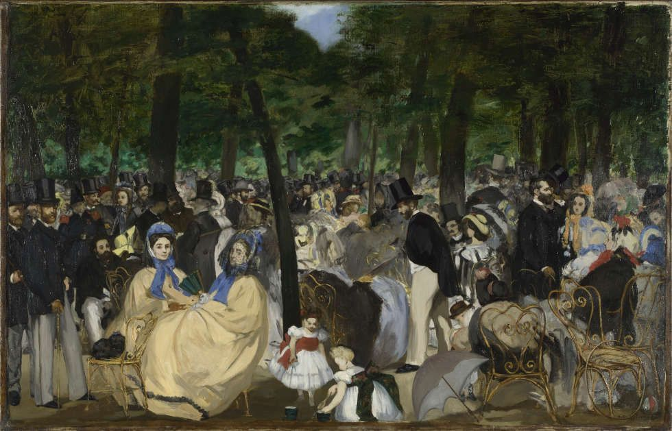 Edouard Manet, Musik im Tuileriengarten, 1862, Öl/Lw, 76.2 × 118.1 cm (Sir Hugh Lane Bequest, 1917 © The National Gallery, London)