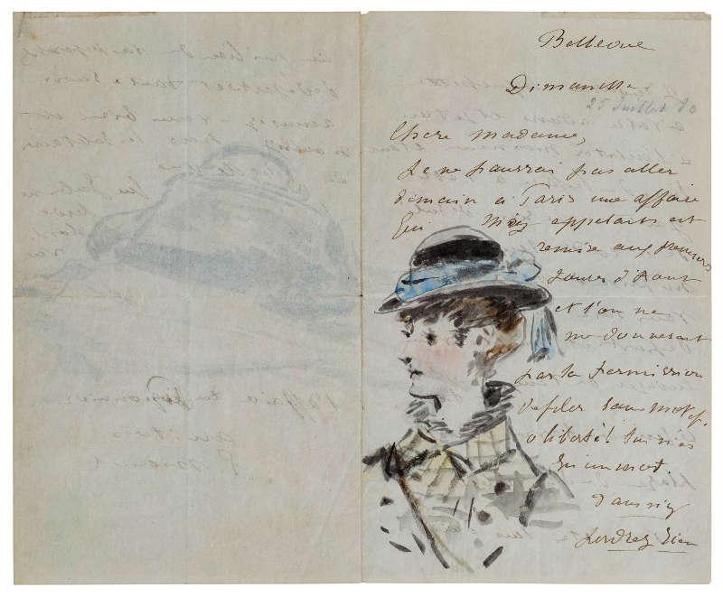 Edouard Manet. Brief an Madame Jules Guillemet, dekoriert mit einem Porträt und einem Stillleben eines Korbs und eines Schirms, Juli 1880 (Saint Honoré Art Consulting, Paris)
