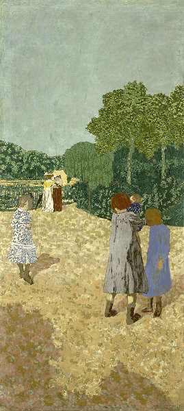 Edouard Vuillard, Park. Der Spaziergang, 1894, Öl/Lw, 214,3 x 97,2 cm (Houston, The Museum of Fine Arts, Robert Lee Blaffer Memorial Collection, Geschenk von Herrn und Frau Kenneth Dale Owen, 53.9 © The Museum of Fine Arts, Houston)