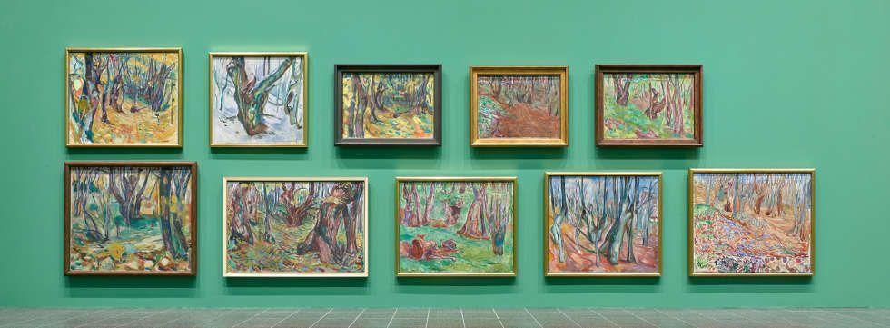 Edvard Munch, Baumstämme und Wälder, Edvard Munch – gesehen von Karl Ove Knausgård, Ausstellungsansicht, K20, Kunstsammlung Nordrhein-Westfalen 2019, Foto: ©: Achim Kukulies, Düsseldorf