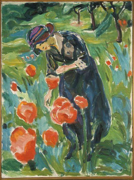 Edvard Munch, Frau mit Mohn, 1918–19, Öl auf Leinwand, 100 x 75 cm (Munchmuseet, Oslo, Foto: © Kunstsammlung NRW)