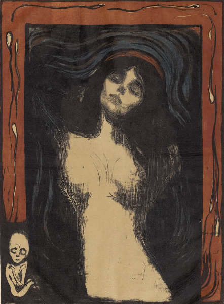 Edvard Munch, Madonna, 1895/1902, Farblithografie mit Lithokreide, -tusche und Nadel in Schwarz, Oliv, Blau und Rot / Japanpapier (ALBERTINA, Wien © ALBERTINA, Wien)
