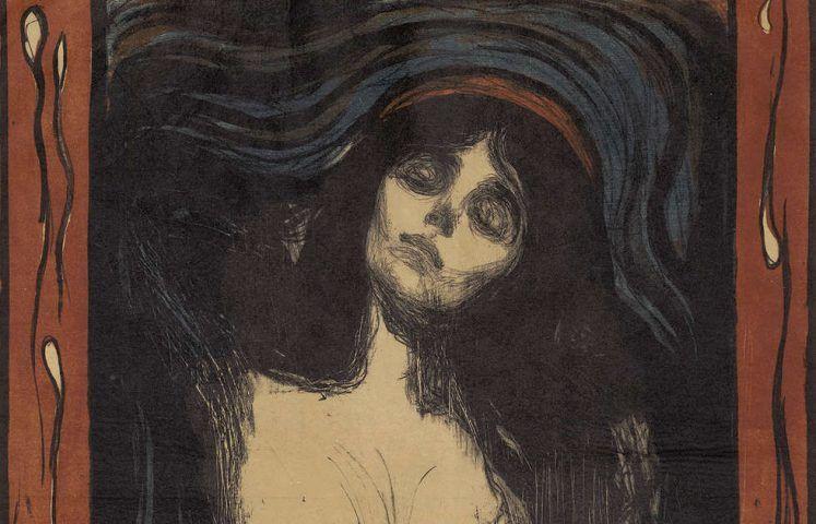 Edvard Munch, Madonna, Detail, 1895/1902, Farblithografie mit Lithokreide, -tusche und Nadel in Schwarz, Oliv, Blau und Rot / Japanpapier (ALBERTINA, Wien © ALBERTINA, Wien)