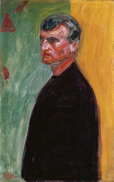 Edvard Munch, Selbstporträt (gegen zweifarbigem Hintergrund), 1904, Öl auf Leinwand, 69,7 x 44 cm (Courtesy Heidi Horten Collection)