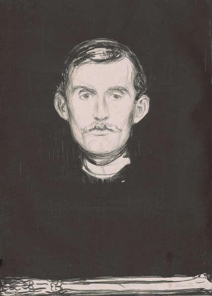 Edvard Munch, Selbstporträt (mit Knochenarm), 1895, Lithografie mit Lithokreide, -tusche und Nadel in Schwarz (ALBERTINA, Wien © ALBERTINA, Wien)