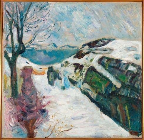 Edvard Munch, Winterlandschaft aus Kragerø, 1910, Öl auf Leinwand, 94 × 96 cm (Munchmuseet, Oslo, Foto: © Kunstsammlung NRW)