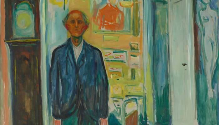 Edvard Munch, Selbstporträt: Zwischen Uhr und Bett, Detail, 1940–1943, Öl auf Leinwand, 149,5 × 120,5 cm (Foto: courtesy Munch Museum, Oslo)