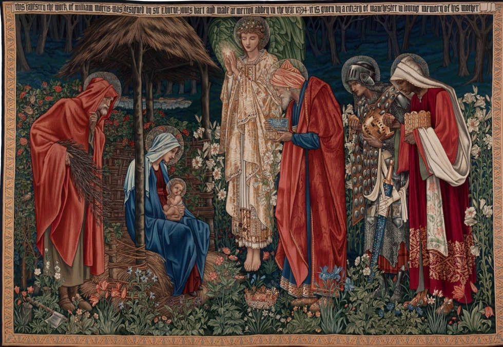 Edward Burne-Jones, Anbetung der Könige, 1894, Tapisserie, 258 x 384 cm (Manchester Metropolitan University Special Collections)