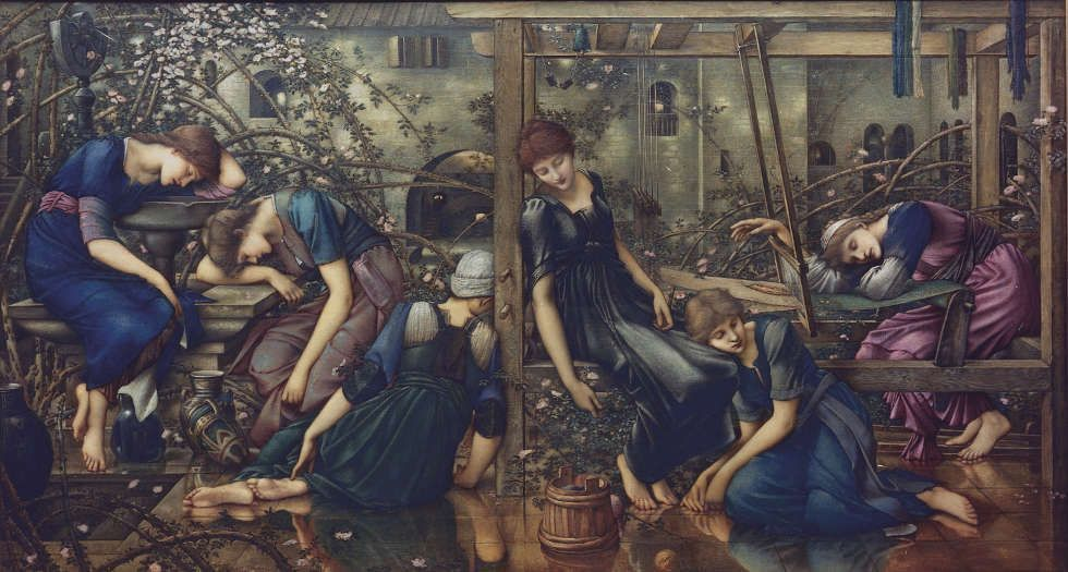 Edward Burne-Jones, Briar Rose Zyklus: The Garden Court, 1874–1884, Öl/Lw, 125 x 231 cm (The Faringdon Collection Trust)