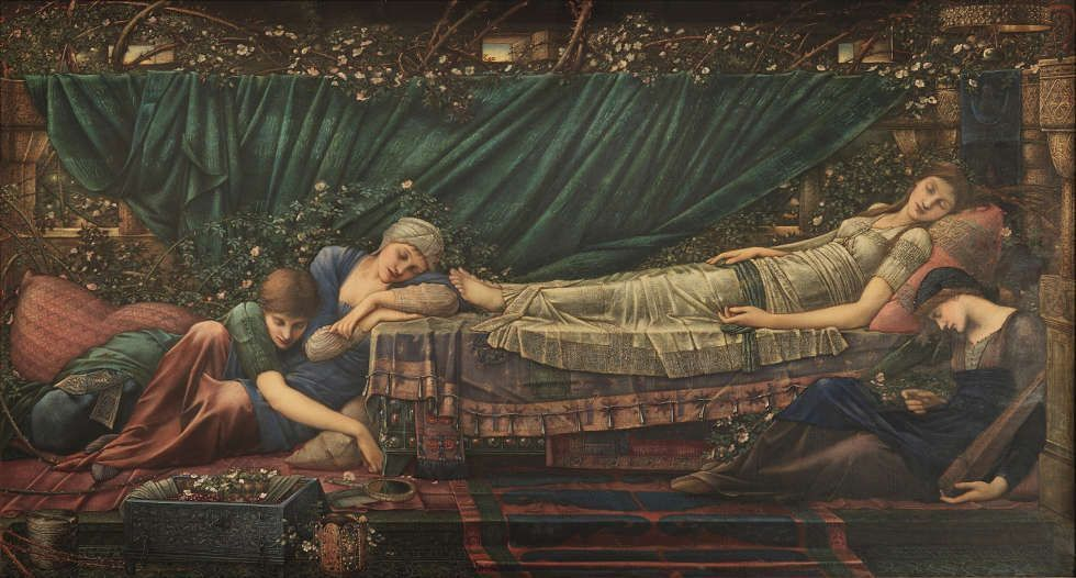 Edward Burne-Jones, Briar Rose Zyklus: The Rose Bower [Das schlafende Dornröschen], 1885–1890, Öl/Lw, 125 x 231 cm (The Faringdon Collection Trust)