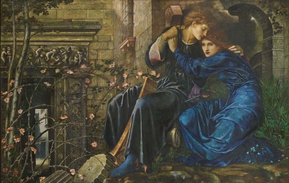 Edward Burne-Jones, Love among the Ruins, 1870–1873, Aquarell, Gouache und Gummi arabicum/Papier, 96 x 152 cm (Privatsammlung)