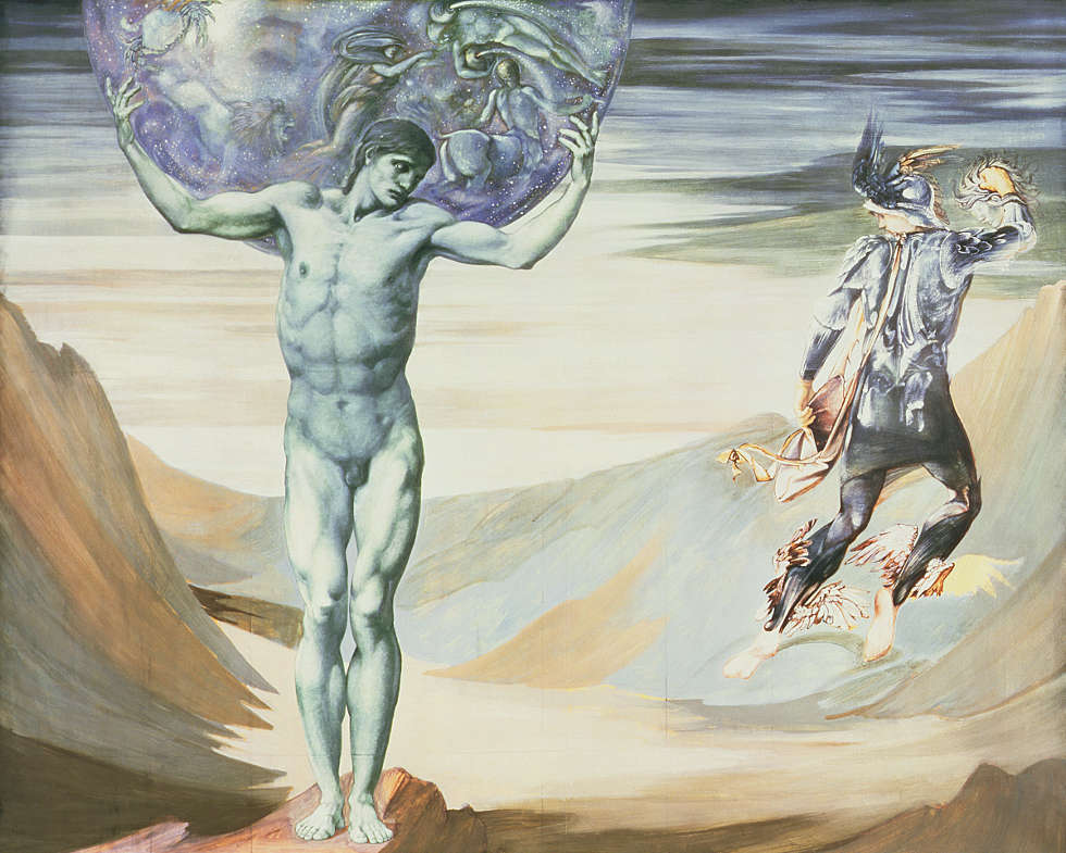 Edward Burne-Jones, Perseus-Zyklus: Atlas turned to Stone [Atlas in Stein verwandelt], um 1878, Gouache/Papier, 150,2 x 190,2 cm (Southampton City Art Gallery)