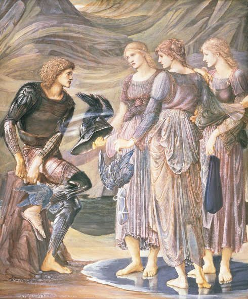 Edward Burne-Jones, Perseus-Zyklus: The Arming of Perseus or Perseus and the Nereids (Sea Nymphs) [Bewaffnung des Perseus oder Perseus und die Seenymphen], 1877, Gouache/Papier, 152,8 x 126,4 cm (Southampton City Art Gallery)